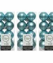 48x ijsblauwe kerstballen 4 cm glanzende matte kunststof plastic kerstversiering