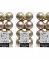 48x licht parel champagne kerstballen 4 cm glanzende matte kunststof plastic kerstversiering