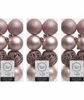 48x lichtroze kerstballen 6 cm glanzende matte glitter kunststof plastic kerstversiering
