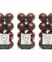 48x mahonie bruine kerstballen 4 cm glanzende matte kunststof plastic kerstversiering