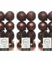 48x mahonie bruine kerstballen 6 cm glanzende matte glitter kunststof plastic kerstversiering