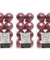 48x oud roze kerstballen 4 cm glanzende matte kunststof plastic kerstversiering