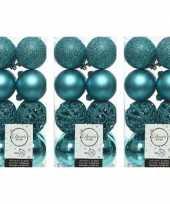48x turquoise blauwe kerstballen 6 cm glanzende matte glitter kunststof plastic kerstversiering