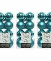 48x turquoise kerstballen 4 cm glanzende matte kunststof plastic kerstversiering