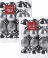 48x zilveren kerstballen 3 cm glanzende matte glitters kunststof kerstversiering
