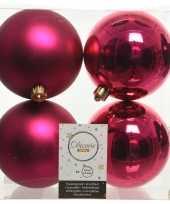 4x bessen roze kerstballen 10 cm kunststof mat glans
