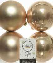 4x donker parel champagne kerstballen 10 cm glanzende matte kunststof plastic kerstversiering