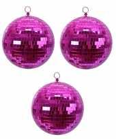 4x fuchsia roze disco spiegelballen kerstballen 8 cm