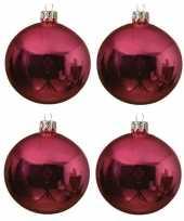 4x fuchsia roze kerstballen 10 cm glanzende glas kerstversiering