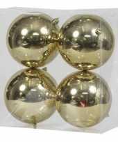 4x gouden kerstballen 12 cm glanzende kunststof plastic kerstversiering