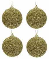 4x gouden kerstballen 8 cm glitters kraaltjes kunststof kerstversiering