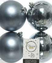 4x grijsblauwe kerstballen 10 cm glanzende matte kunststof plastic kerstversiering