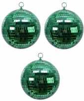 4x groene disco spiegelballen kerstballen 8 cm