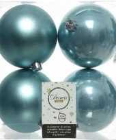 4x ijsblauwe kerstballen 10 cm glanzende matte kunststof plastic kerstversiering