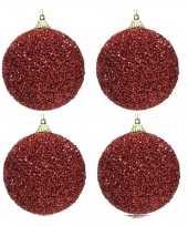 4x kerst rode kerstballen 8 cm glitters kraaltjes kunststof kerstversiering