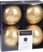 4x kerstboomversiering luxe kunststof kerstballen goud 10 cm