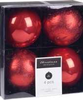 4x kerstboomversiering luxe kunststof kerstballen rood 10 cm