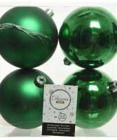 4x kerstgroene kerstballen 10 cm kunststof mat glans