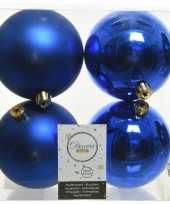 4x kobalt blauwe kerstballen 10 cm kunststof mat glans