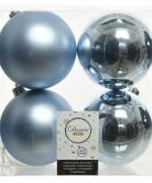4x lichtblauwe kerstballen 10 cm kunststof mat glans