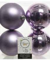 4x lila paarse kerstballen 10 cm kunststof mat glans