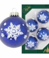 4x luxe blauwe glazen kerstballen glitter met witte sneeuwvlok 7 cm