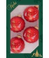 4x luxe rode glazen kerstballen ho ho ho 7 cm kerstboomversiering