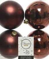 4x mahonie bruine kerstballen 10 cm glanzende matte kunststof plastic kerstversiering