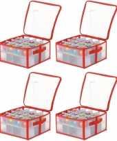 4x opbergboxen voor kerstballen 30 cm
