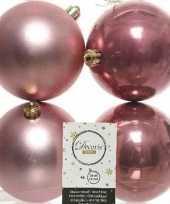 4x oud roze kerstballen 10 cm glanzende matte kunststof plastic kerstversiering
