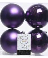 4x paarse kerstversiering kerstballen kunststof 10 cm