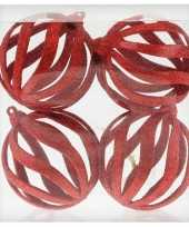 4x rode open draad kerstballen met glitters kunststof 8 cm