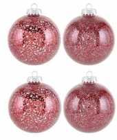4x rode sterren kerstballen 10 cm sterrens kunststof kerstversiering