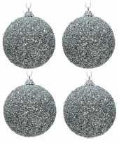 4x zilveren kerstballen 8 cm glitters kraaltjes kunststof kerstversiering