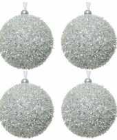 4x zilveren kerstballen 8 cm glitters sneeuwballen kunststof kerstversiering