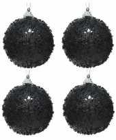 4x zwarte kerstballen 8 cm glitters glimmers kunststof kerstversiering