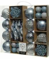 50x blauwe kerstballen 4 8 15 cm glanzende glitter kunststof plastic kerstversiering