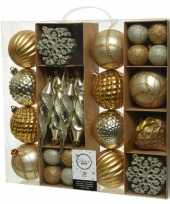 50x gouden kerstballen 4 8 15 cm glanzende glitter kunststof plastic kerstversiering