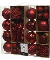 50x rode kerstballen 4 8 15 cm glanzende glitter kunststof plastic kerstversiering