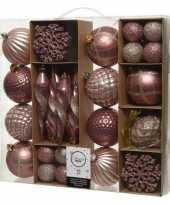 50x roze kerstballen 4 8 15 cm glanzende glitter kunststof plastic kerstversiering