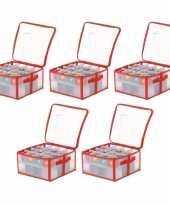 5x opbergboxen voor kerstballen 30 cm