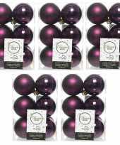 60x aubergine paarse kerstballen 6 cm glanzende matte kunststof plastic kerstversiering