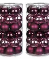 60x berry kiss mix roze rode glazen kerstballen 6 cm glans en mat