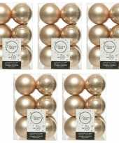 60x donker parel champagne kerstballen 6 cm glanzende matte kunststof plastic kerstversiering