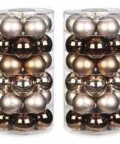 60x elegant lounge mix bruin tinten glazen kerstballen 6 cm