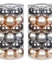 60x glowing mountains mix zilver champagne glazen kerstballen 6 cm