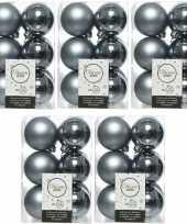 60x grijsblauwe kerstballen 6 cm glanzende matte kunststof plastic kerstversiering