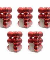 60x kerst rode kerstballen 6 cm glanzende matte kunststof plastic kerstversiering