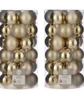 60x kunststof kerstballen goud 6 cm