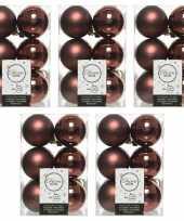 60x mahonie bruine kerstballen 6 cm glanzende matte kunststof plastic kerstversiering